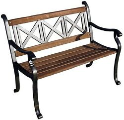 Triple Cross Patio Bench Outdoor Garden Balcony Bench Porch Backyard Furniture