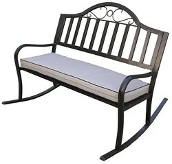 Rochester Rocking Patio Bench W Cushion Outdoor Garden Balcony Lawn Furniture
