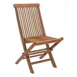 Set of 2 Natural Finish Regatta Outdoor Folding Chair Patio Beach Home Yard Seat