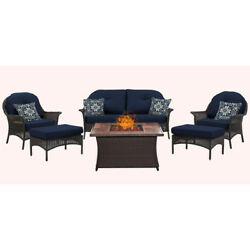 Hanover San Marino 6 Piece Fire Pit Lounge Seating Group with Cushions