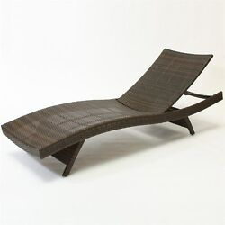 Durable Brown Wicker Easy Stackable Folding Adjustable Patio Chaise Lounge Chair
