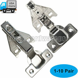 Concealed Face frame Kitchen Cabinet Door Hinges Full Overlay Nickel-Plated Pair