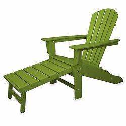 Green Slatted Polywood Adirondack Chair Ottoman Pool Deck Lounge Seat Foot Rest