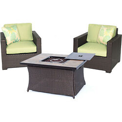 Hanover Outdoor Metropolitan Three-piece Chat Set with LP Gas Fire Pit Table in