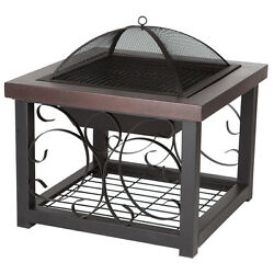 Bronze 28.5-in W Bronze Steel Wood-Burning Fire Pit Home Garden Outdoor Domed