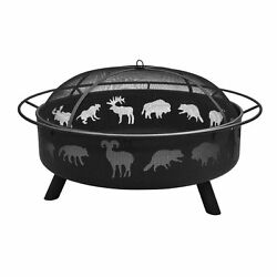 Super Sky 43-in Black Steel Wood-Burning Fire Pit Home Garden Outdoor Deep Bowl