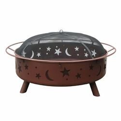 Heavy-Duty 43-in W Georgia Clay Steel Wood-Burning Fire Pit Home Garden Outdoor