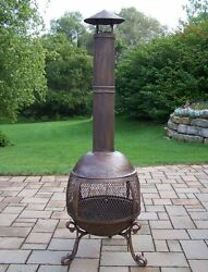 Brown Cast Iron Outdoor Wood-Burning Fireplace Home Garden Porches Deck Heater