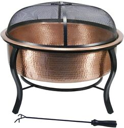 Copper Polished Wood-Burning Outdoor Fireplace Patio Fire Pit Backyard Heater