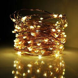 LED Fairy Lights 33 Foot 100 Micro LED Lights on Copper Wire With Plug