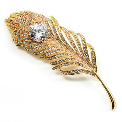 Large Diamante Peacock Feather Gold Tone Brooch (Clear) - 11.5cm Length
