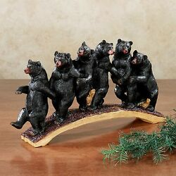 Rustic Lodge Decor Home Table Sculpture Black Resin Bear Cabin Log Home Display