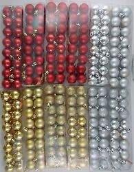 CHRISTMAS SMALL 1quot; BALL ORNAMENTS METALLIC GOLD SILVER RED 16 Pk SELECT: Type $2.99