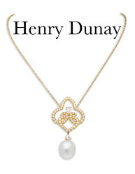 Henry Dunay 18k Yellow Gold Diamond and Pearl Pendant