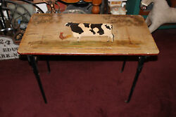 Antique Folding Sewing Table Painted Country Cow Rooster Plank Wood Table $199.99