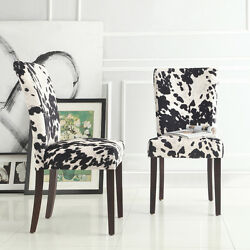 Parsons Chairs Lodge Country Log Cabin Modern Dining Room Cowhide Seat Set of 2