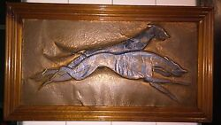 Vintage 1930s 30s Art Deco Embossed Engraved Painted Copper Pair Greyhounds Art