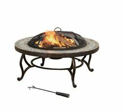Pleasant Hearth Elizabeth 34 in. Portable Round Slate Patio Heater Wood Fire Pit