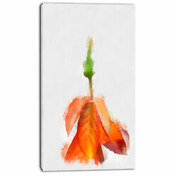 Design Art 'Rose Flower Stem with Shed Petals' Painting Print on Wrapped Canvas
