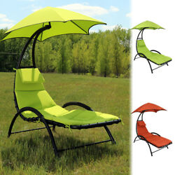 Sunnydaze Chaise Lounge Chair with Canopy & Removable Pad - Multiple Colors