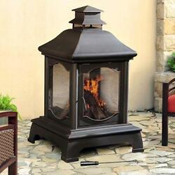 Outdoor Wood Burning Fireplace Steel Bowl Mesh Screen Antique Black Finish