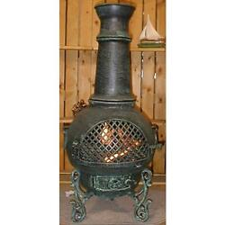 Aluminium Wood Burning Chiminea Spark Screen Included Antique Green Finish
