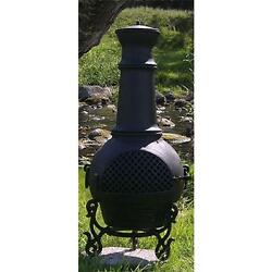 Outdoor Aluminium Wood Burning Chiminea Spark Screen Included Charcoal Finish