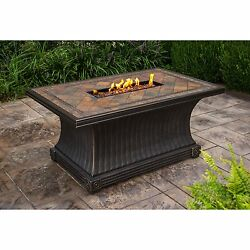 Cascadian Rectangular Slate Gas Firepit Table with Red Lava Rocks Weather Cover
