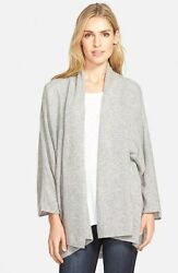 Nordstrom Gray Open Front Cashmere Cardigan Woman's 3030