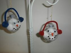 Snowman Ornament with Earmuffs.  Set of 2