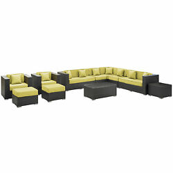Cohesion Outdoor Rattan 11-piece Set in Espresso with Peridot Cushions