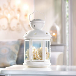 Lot of 12 White Colonial Style Candle Lantern Floral Display WEDDING Centerpiece