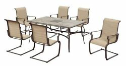 NEW Durable Luxury Outdoor 7 Piece Patio Table Chairs Dining Set Rust Resistant