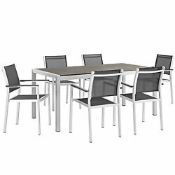 Modway Shore Outdoor Patio Aluminum 7 Piece Dining Set
