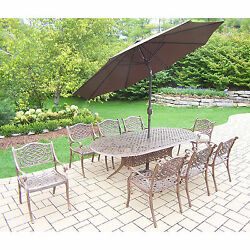 Dakota 11-Piece Outdoor Dining Set with Table 8 Chairs 9 ft Brown Umbrella and