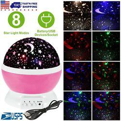 Constellation Night Light Kids 360° Rotate Lamp Moon Star Sky Projector Cosmos $12.86