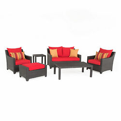 Deco Red 6-Piece Outdoor Patio Loveseat and Club Chair Set by RST Brands