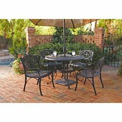 Outdoor Patio Furniture Cast Aluminum Dining Set 5-Piece Table Arm Chairs Black