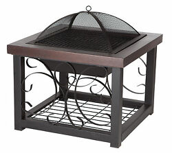 Hammer Tone Bronze Finish Cocktail Table Fire Pit Sturdy Steel Large Fire Box