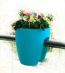 2 Pack Turquoise Rail Planter Deck Balcony Garden Flower Pots Decor Urn Outdoor