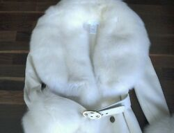 AZZARO COUTURE CASHMERE COAT WITH SILVER FOX TRIM SZ FR36