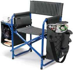 Fushion Chair Portable Outdoor Seat w Backpack Straps Armrests Black