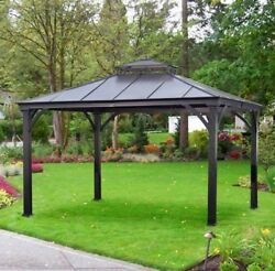 Gazebo Canopy 10x12 Outdoor Tent Hard Top Metal Gazebos Patio Furniture Party