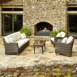 Made to Order Klaussner Outdoor Sycamore 4-piece Brown Wicker Set with ClimaPlus