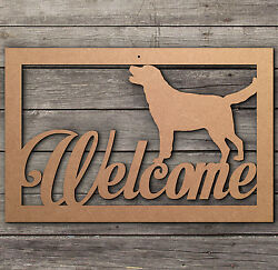 Welcome Labrador Retriever Dog  Welcome Sign Wooden Laser Cut Mdf Craft Blanks