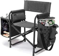 Fushion Chair Armrest Portable Outdoor Seat w Cup Holder Backpack Straps Black