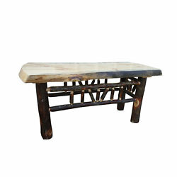 Rustic Pine and Hickory Log Natural Edge Dining Bench Coffee Table