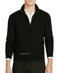 $425 POLO RALPH LAUREN 100% cashmere Italian Yarn  half zip SWEATER S  Black