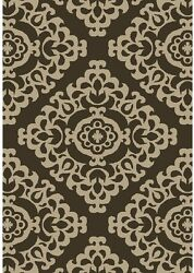 Woven Area Rug Indoor and Outdoor Rectangular Carpet Casual Medallion Brown 5 X