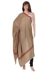 100% Cashmere Scarf Pure Pashmina Brown Handmade Embroidered Red Thread Oversize